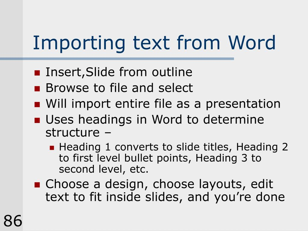 Importing text from Word