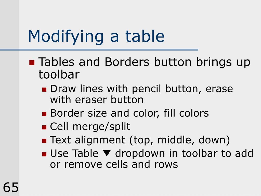 Modifying a table