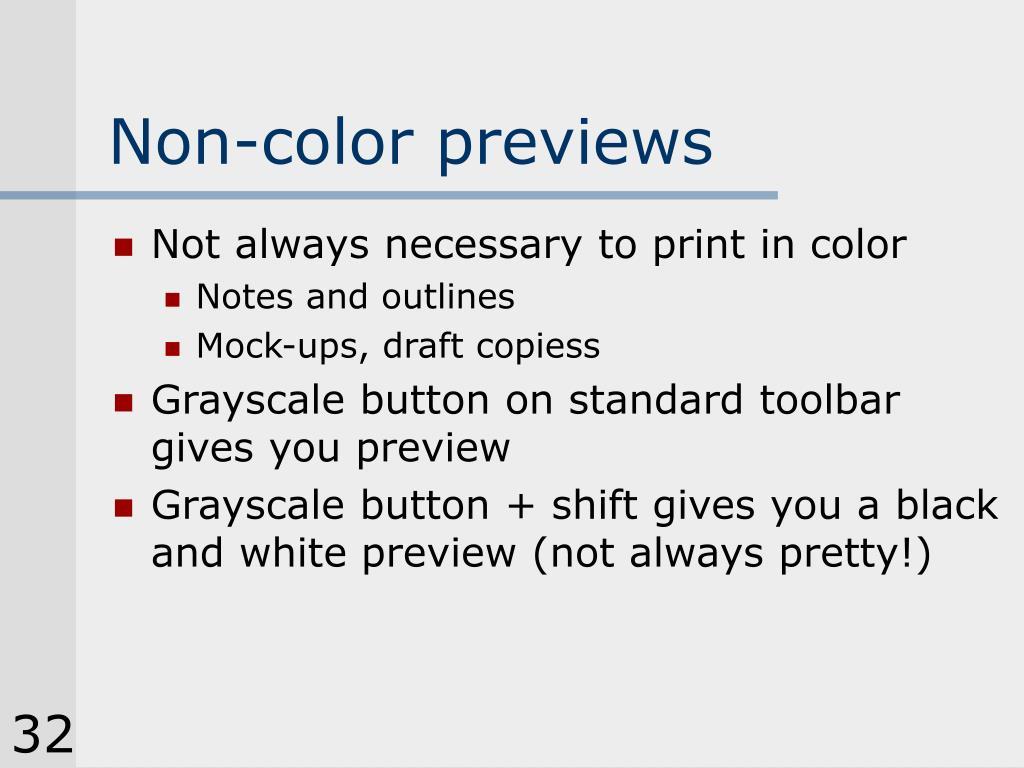 Non-color previews
