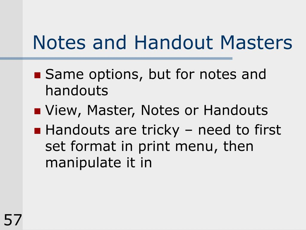 Notes and Handout Masters