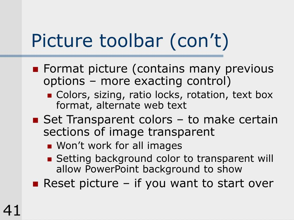 Picture toolbar (con't)