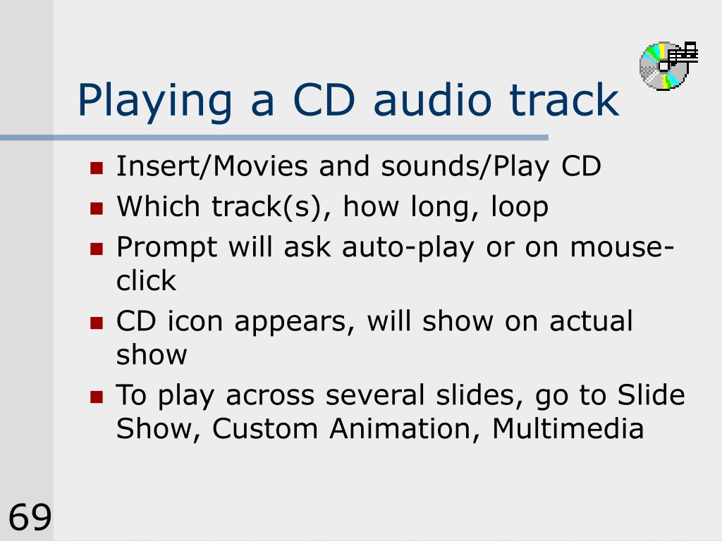 Playing a CD audio track