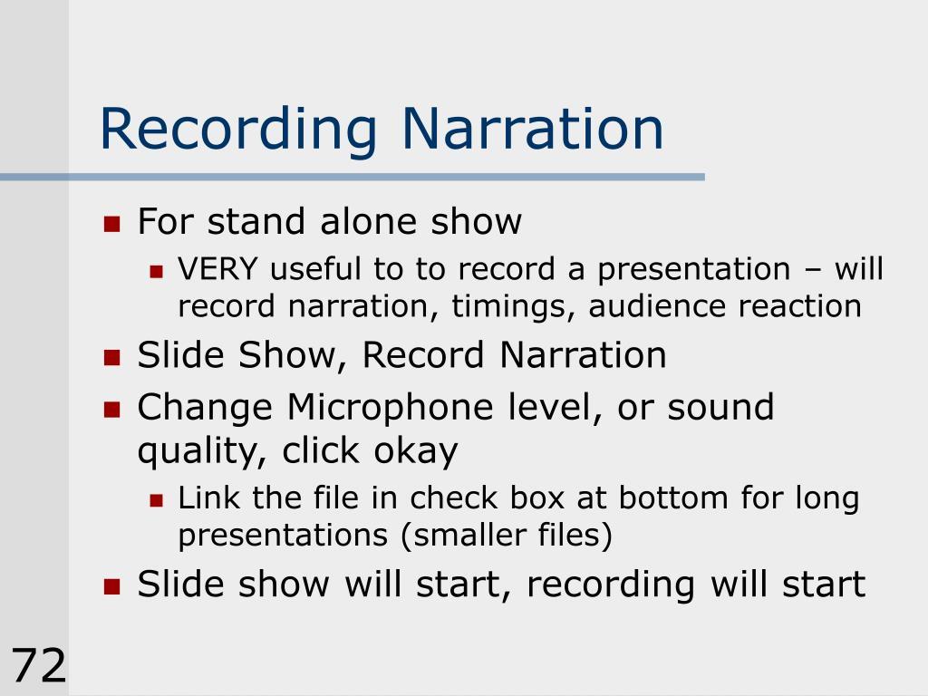 Recording Narration