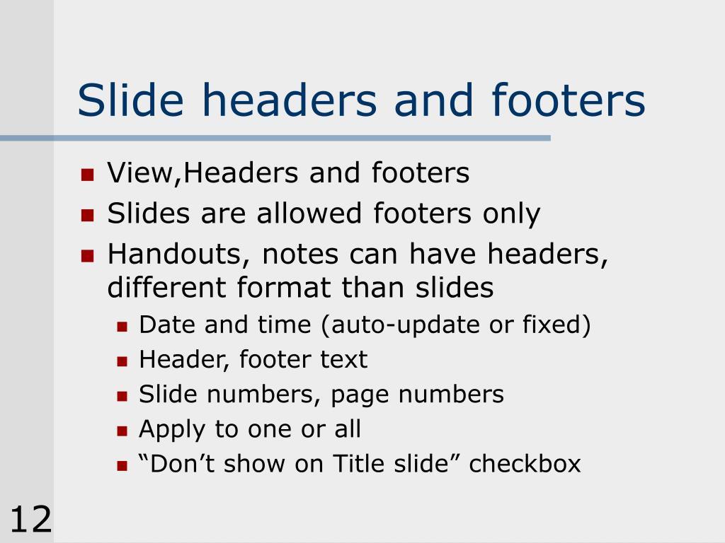 Slide headers and footers