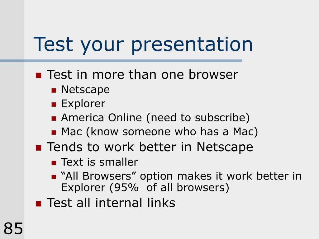 Test your presentation