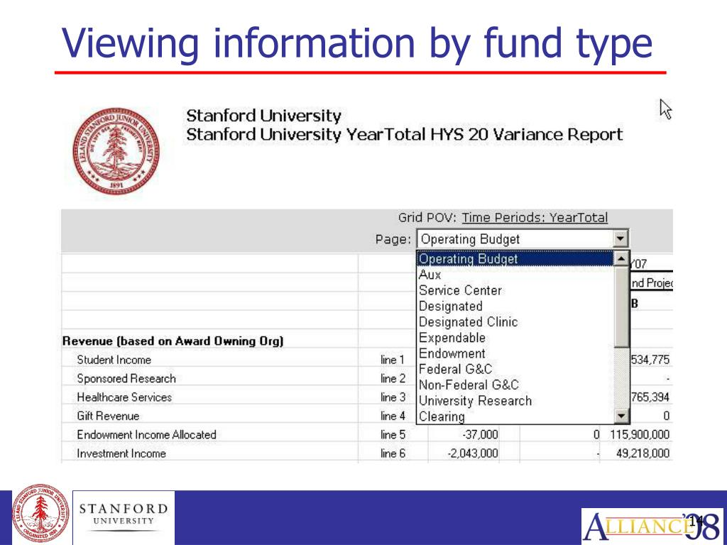Viewing information by fund type