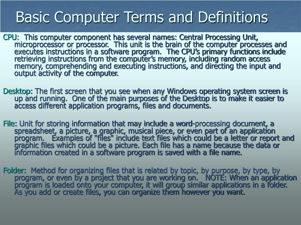 Basic Computer Terms and Definitions
