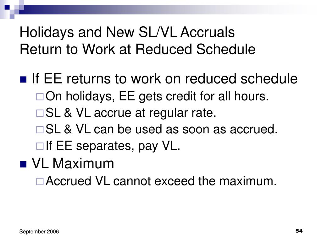 Holidays and New SL/VL Accruals