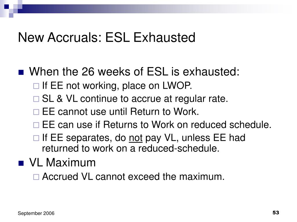 New Accruals: ESL Exhausted