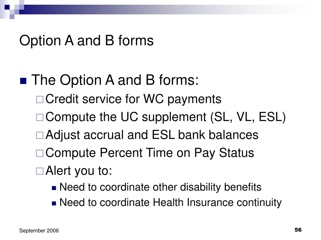 Option A and B forms