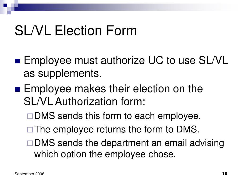 SL/VL Election Form