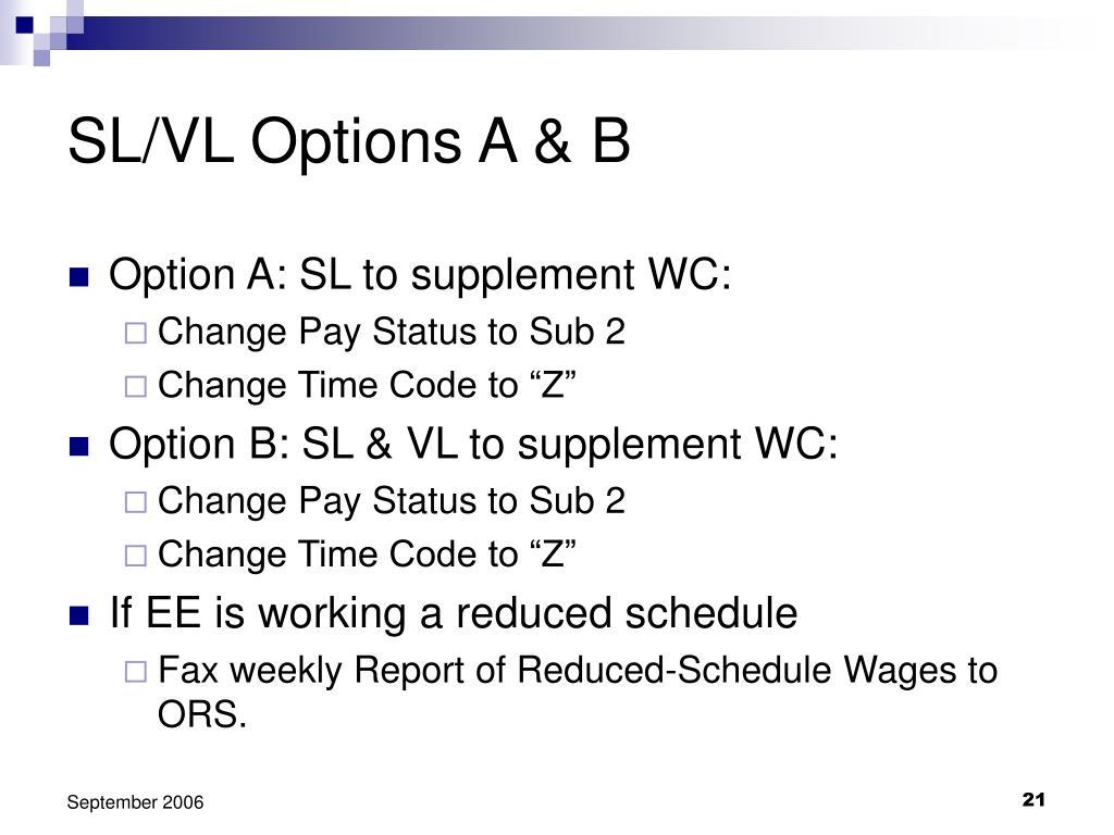 SL/VL Options A & B