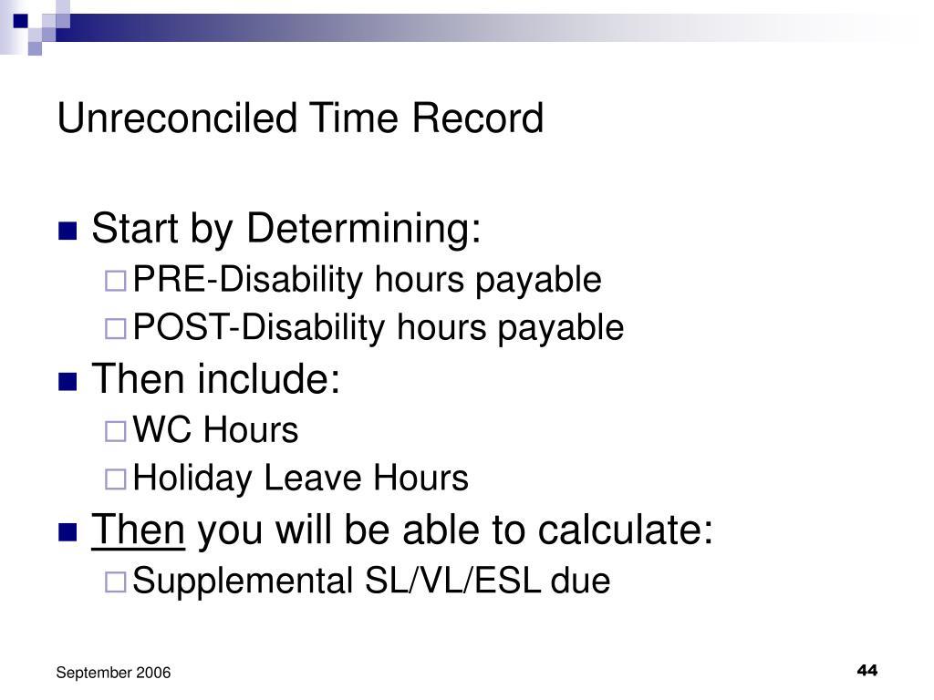 Unreconciled Time Record