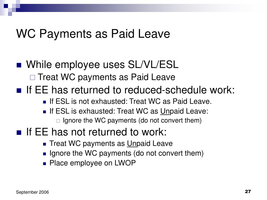 WC Payments as Paid Leave