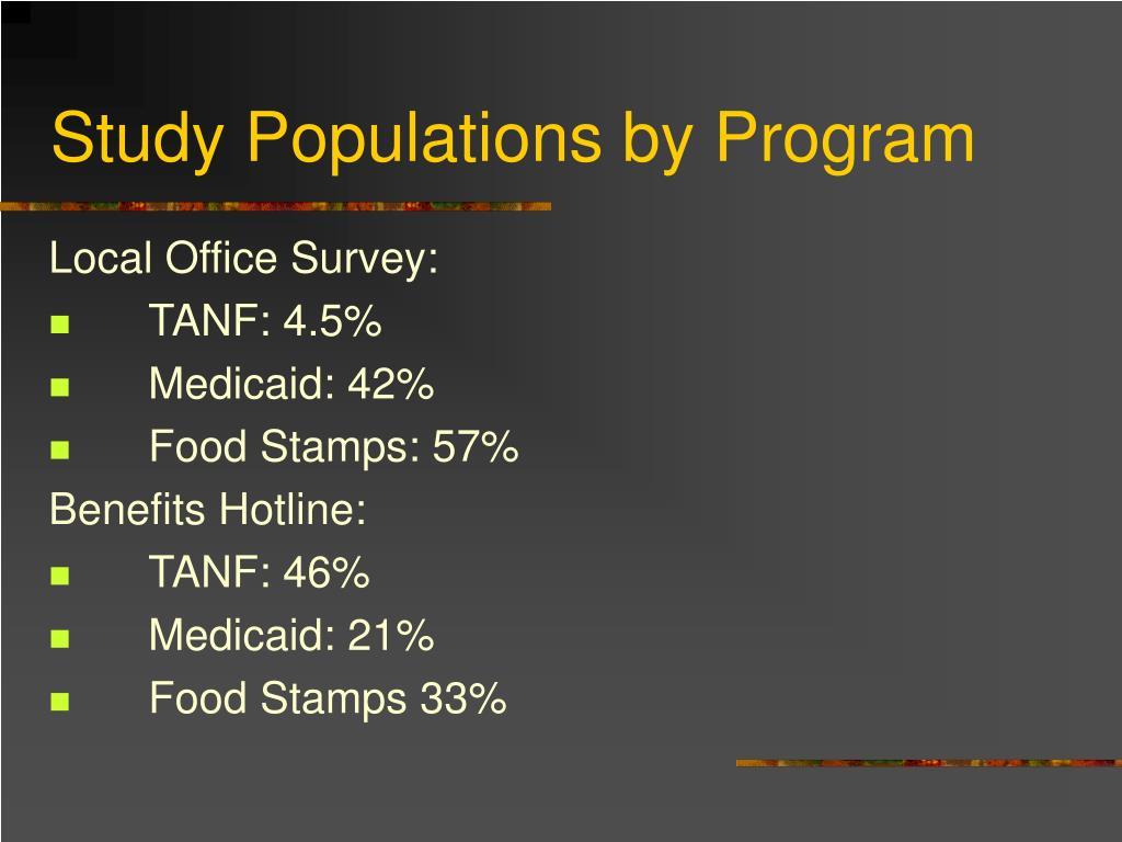 Study Populations by Program