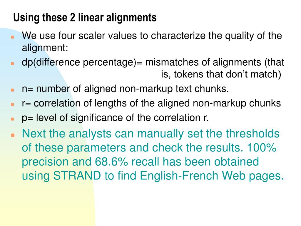 Using these 2 linear alignments