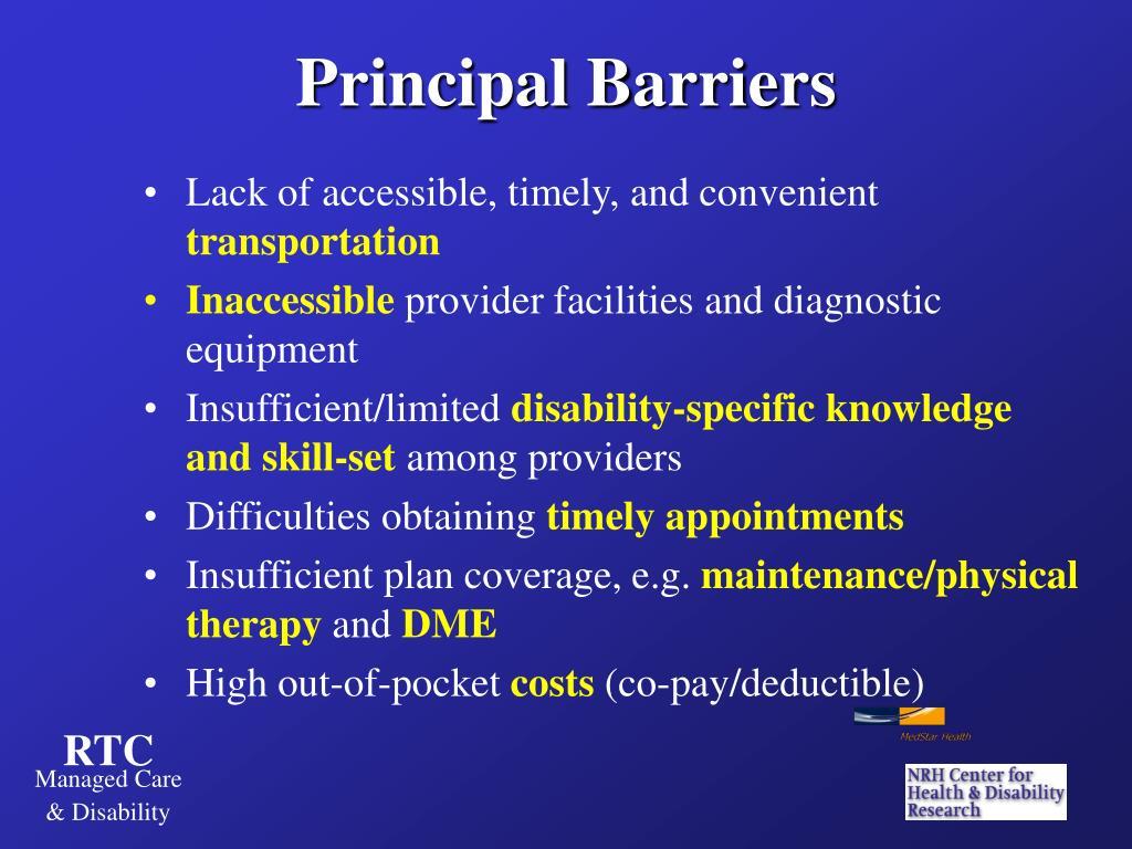 Principal Barriers