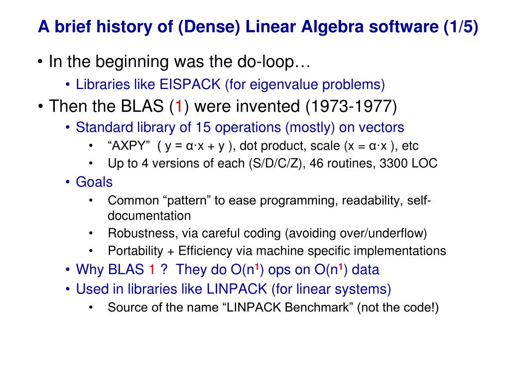 A brief history of (Dense) Linear Algebra software (1/5)