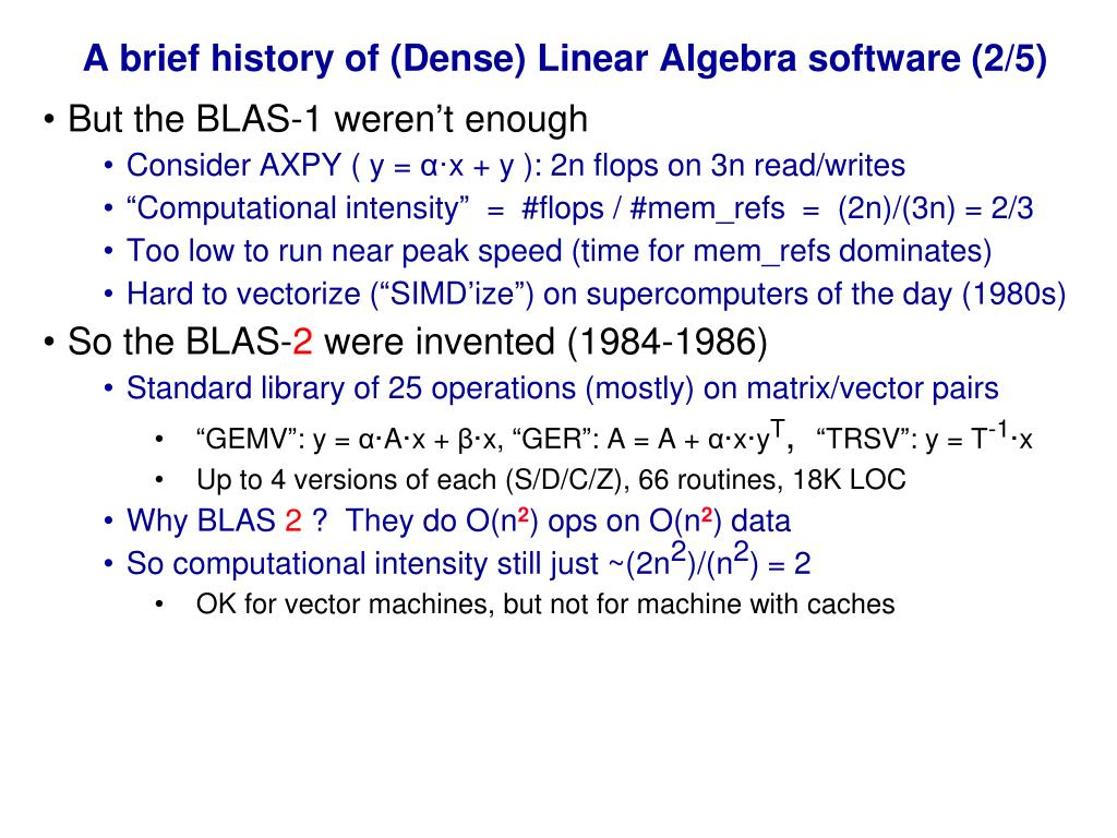 A brief history of (Dense) Linear Algebra software (2/5)