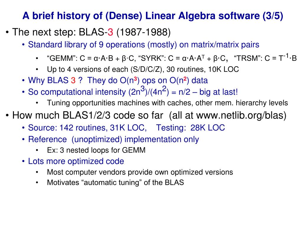 A brief history of (Dense) Linear Algebra software (3/5)