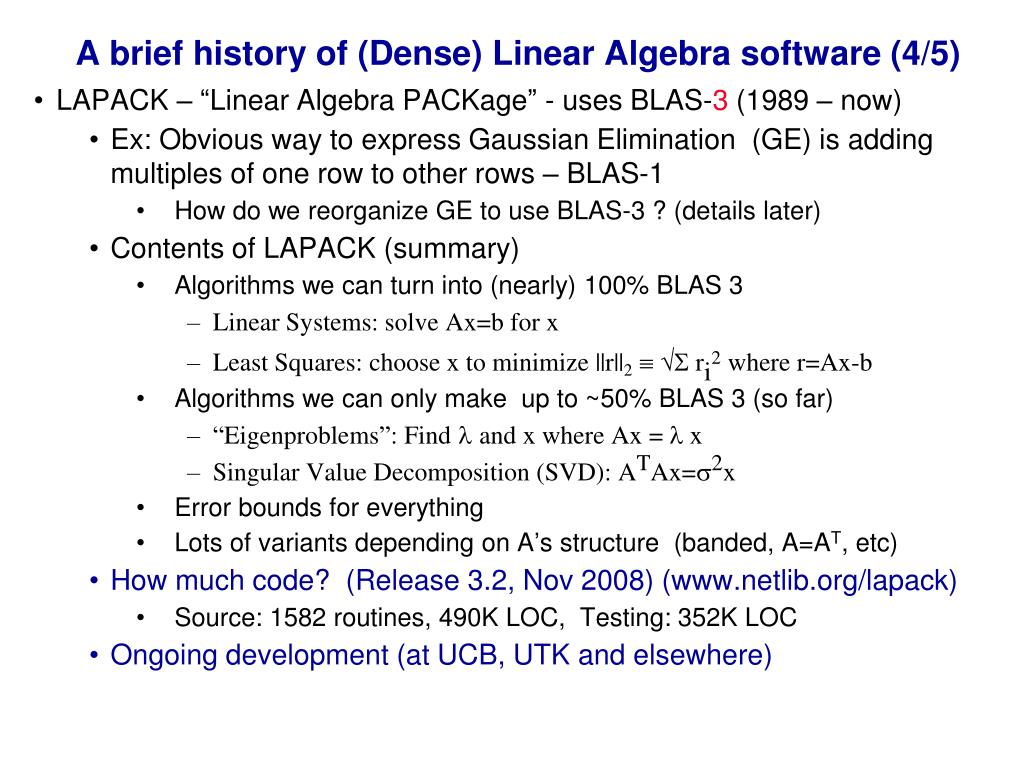 A brief history of (Dense) Linear Algebra software (4/5)