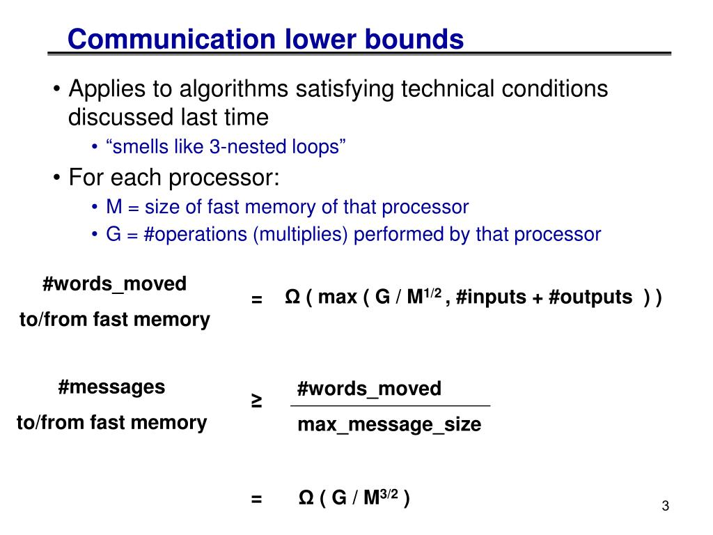 Communication lower bounds