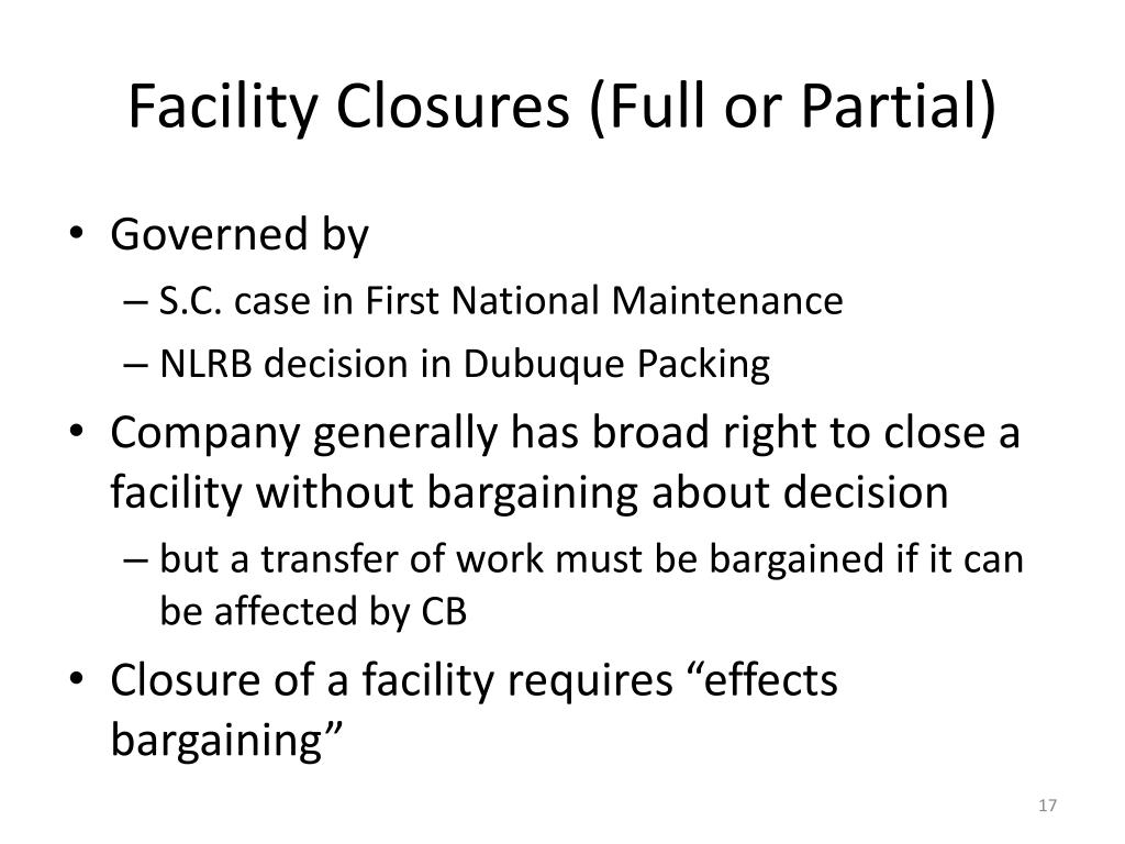 Facility Closures (Full or Partial)