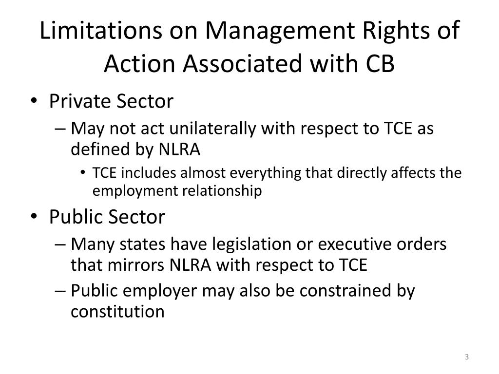 Limitations on Management Rights of Action Associated with CB
