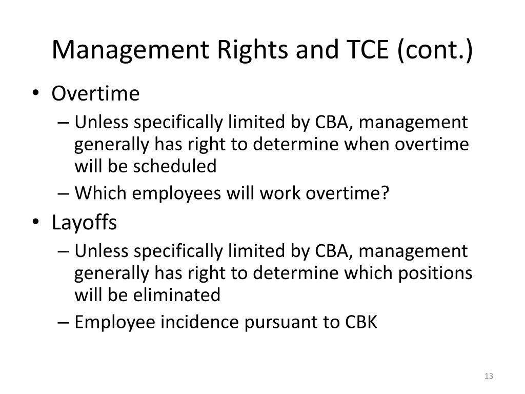 Management Rights and TCE (cont.)