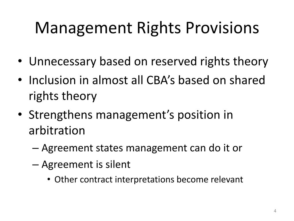 Management Rights Provisions