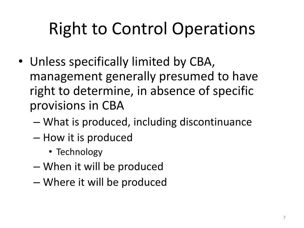 Right to Control Operations