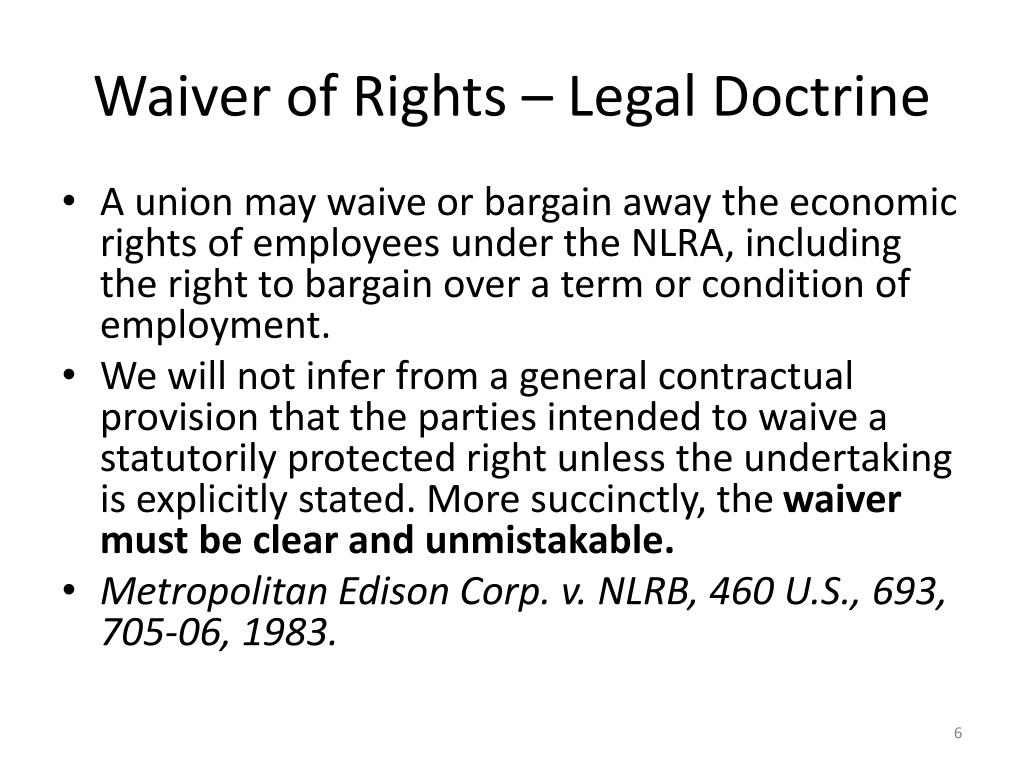 Waiver of Rights – Legal Doctrine