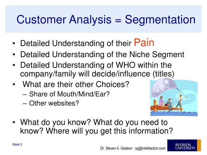 Customer Analysis = Segmentation