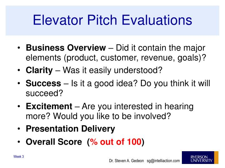 Elevator pitch evaluations