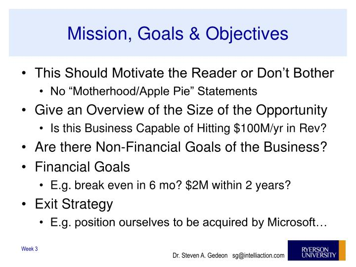 Mission, Goals & Objectives