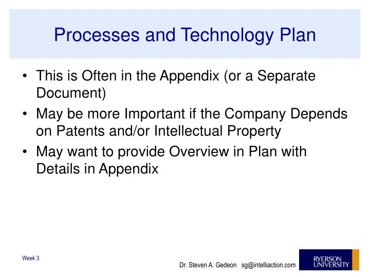 Processes and Technology Plan