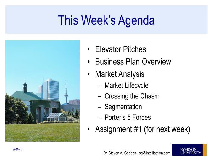 This Week's Agenda