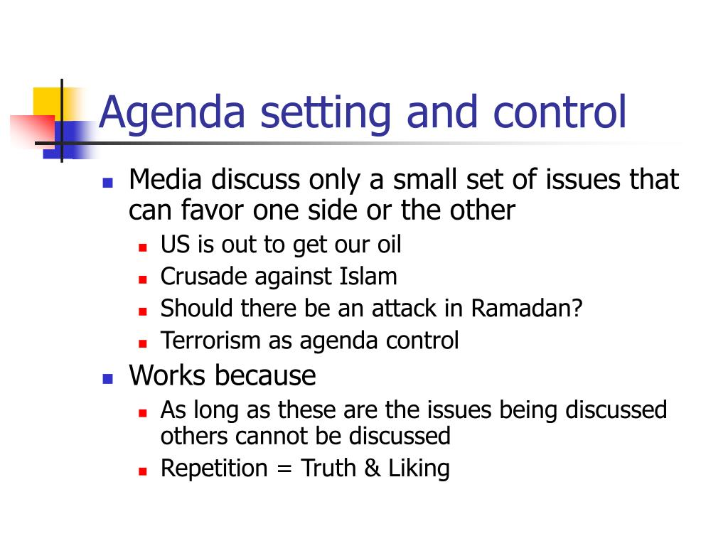 Agenda setting and control