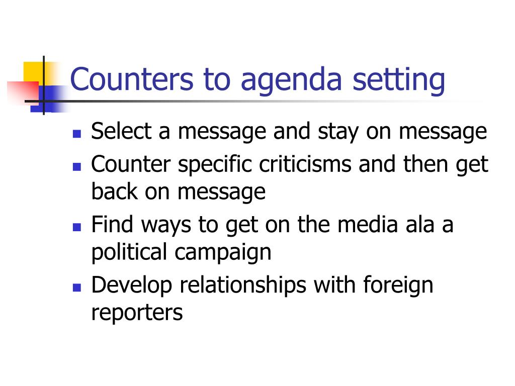 Counters to agenda setting