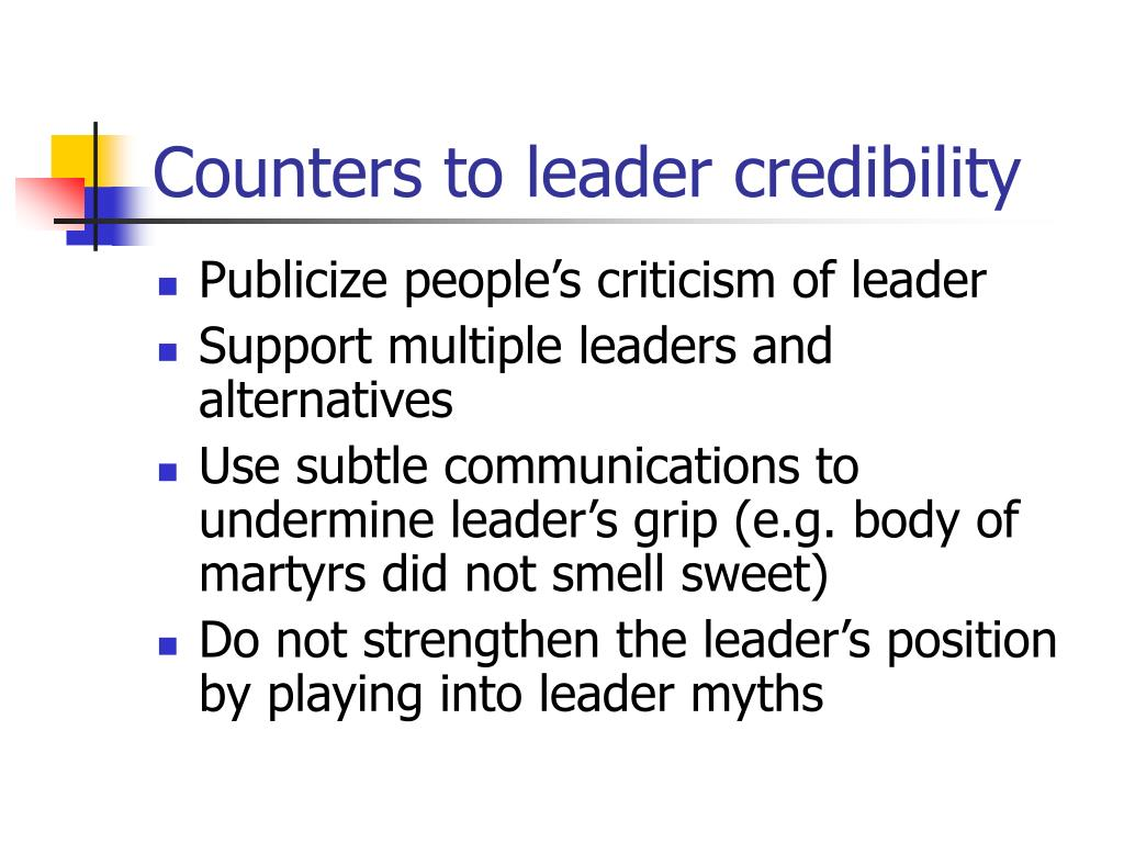 Counters to leader credibility