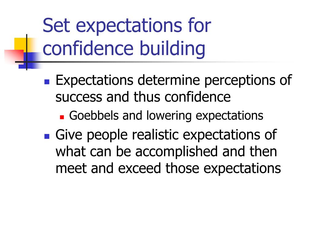 Set expectations for confidence building