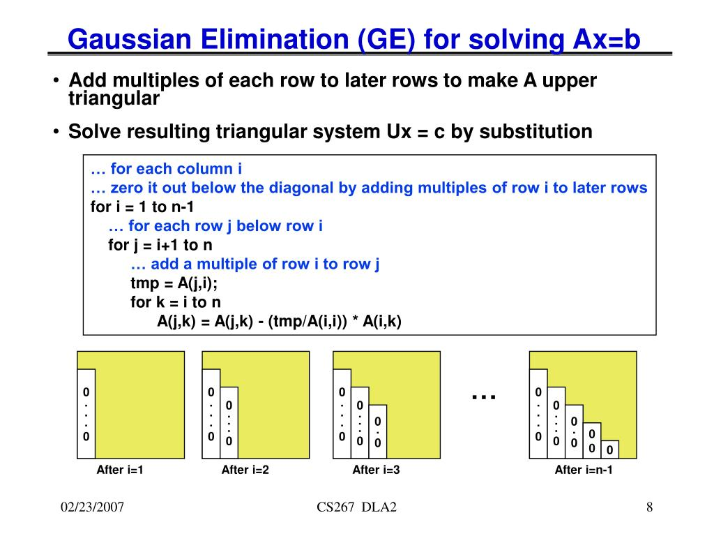 Gaussian Elimination (GE) for solving Ax=b