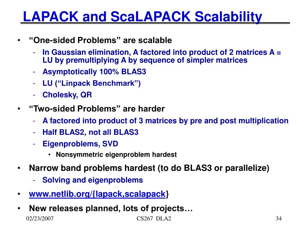 LAPACK and ScaLAPACK Scalability