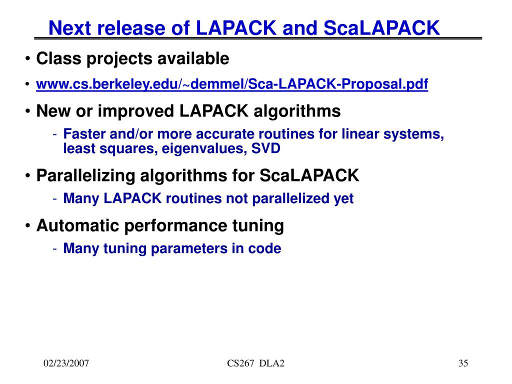 Next release of LAPACK and ScaLAPACK
