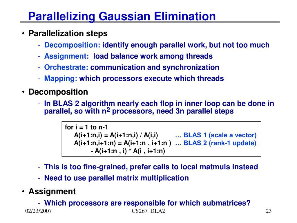 Parallelizing Gaussian Elimination