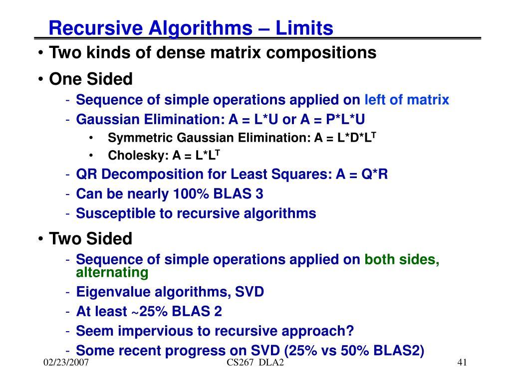 Recursive Algorithms – Limits