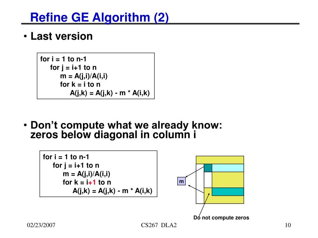 Refine GE Algorithm (2)