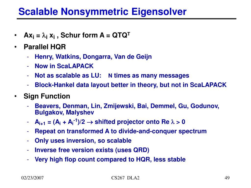 Scalable Nonsymmetric Eigensolver