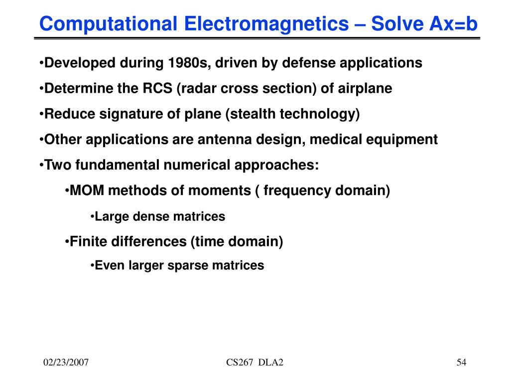 Computational Electromagnetics – Solve Ax=b