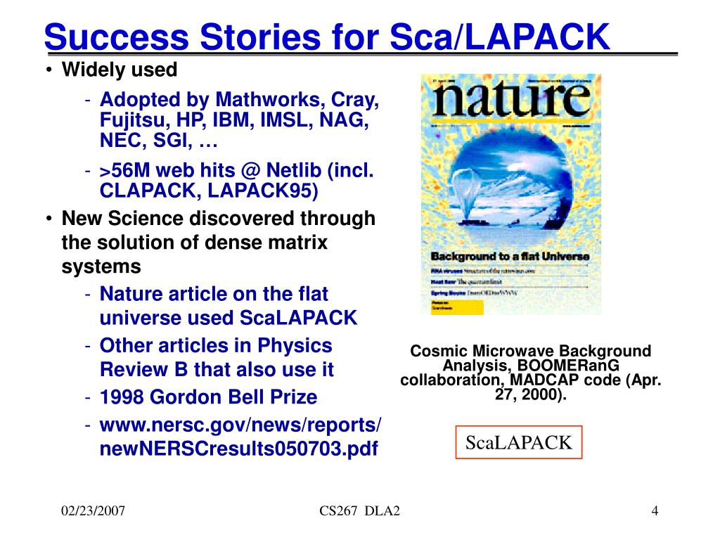 Success Stories for Sca/LAPACK